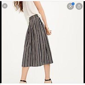 J. Crew Petite Pleated Midi Skirt Triple Stripe